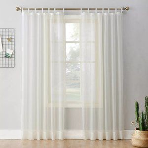 Sheer Curtain Panel White Ivory 59″W x 63″L Voile